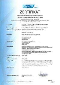bvh blechverarbeitung zertifikate konformitätszertifikat en a