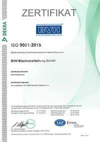 bvh blechverarbeitung zertifikate zertifikat iso